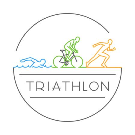 Illustration créative d'un concept de conception de ligne vectorielle pour le triathlon. Logo en ligne de style créatif. Ouvrir le chemin. Banque d'images - 74737176