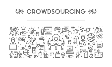 crowdsource: Vector line web banner for crowdsourcing. Modern linear concept for crowdfunding.