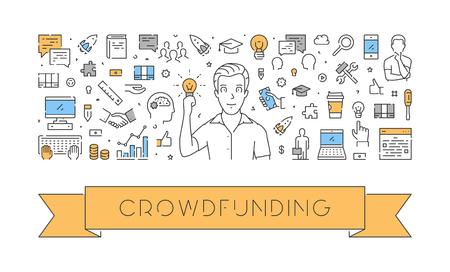 Vector line Web-Banner für Crowdfunding. Modernes lineares Konzept für das Fundraising. Standard-Bild - 74777583