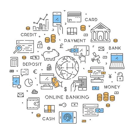 cash money: Round line banner for online banking