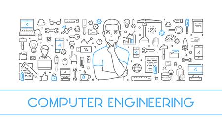 laptop repair: Line web banner for computer engineering