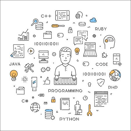 Concepto web de línea redonda para la programación