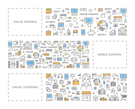 Line concept for online banking and shopping Ilustrace