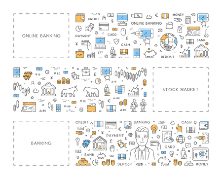 stock quotes: Line concept for online banking and stock market Illustration
