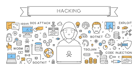 A Vector line concept of hacking. Modern linear banner.