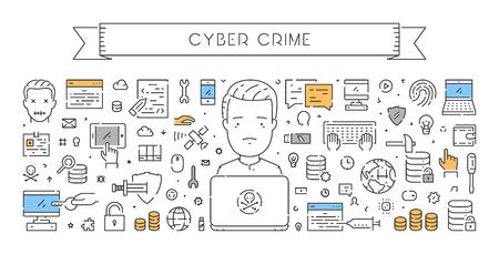 dos: Line web banner for cyber crime. Modern linear concept for hacking. Illustration
