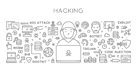 Vector line web banner for hacking. Modern linear concept.