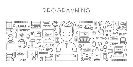 A Vector line web banner for programming. Modern linear concept. Vektorové ilustrace