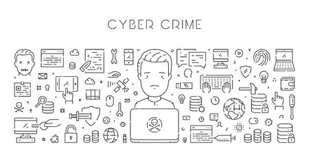 Line web banner for cyber crime. Modern linear concept for hacking. Illustration
