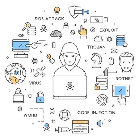 dos: A Vector line web concept of hacking.