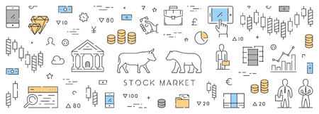 stock quotes: Line web banner for stock market