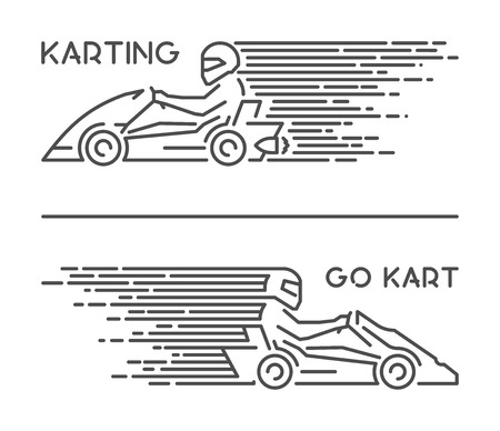 Vector line karting symbol and icon. Modern outline go kart logo.