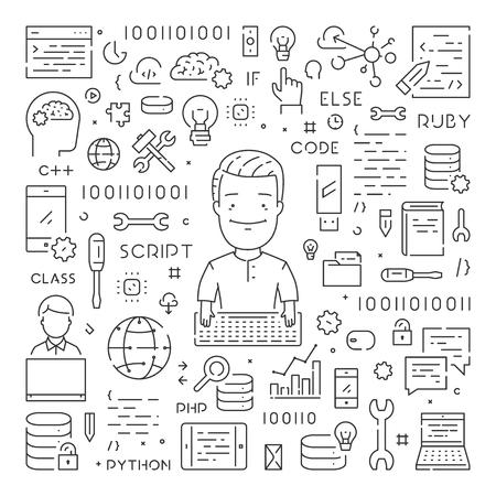Modern line web concept for programming Vektorové ilustrace