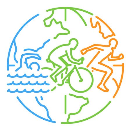 Vector lijn webbanner voor triatlon