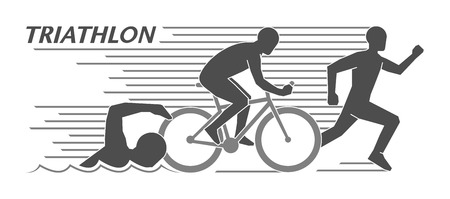 Modern logo triathlon and figures triathletes