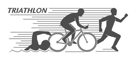 Moderne logo triathlon en figuren triathleten Stock Illustratie