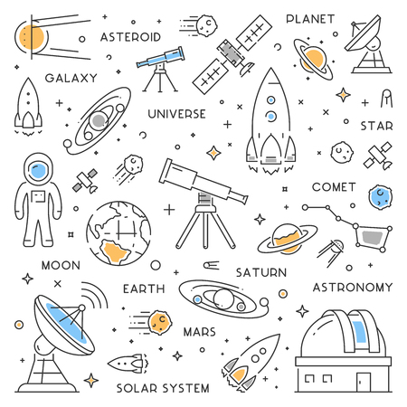 Line vector web concept for astronomy