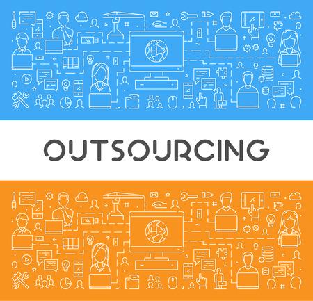 A Vector line web banner for outsourcing. Modern linear concept for teamwork. Иллюстрация