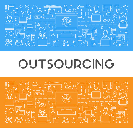 A Vector line web banner for outsourcing. Modern linear concept for teamwork. Illustration