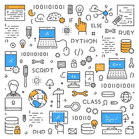 Concept web moderne en ligne pour la programmation. Bannière Web linéaire pour le codage. Vecteurs