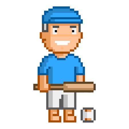 Vector 8-bit pixel art honkbal speler op witte achtergrond.