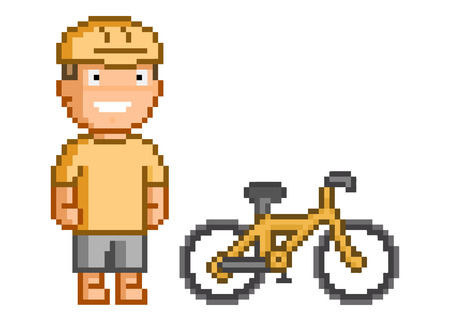 Retro 8-bit pixel cyclist for games and design. Illustration