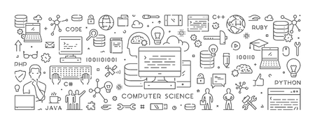 Vector line concept for computer science. Web linear banner for programming. Illustration