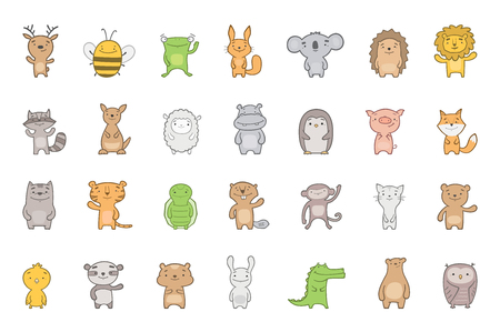 Big vector set of cute baby animals. Australian, African, domestic and woodland.