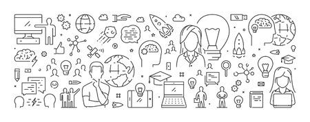 Line web banner for brainstorming. Modern linear concept for brainstorm. Stock Illustratie