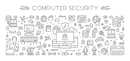 Line design concept for computer security. Creative style banner for internet security. Open path. Illustration