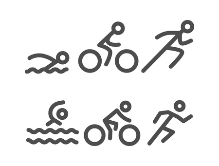 Vector line design concept for triathlon. Linear creative style web logo. Open path.