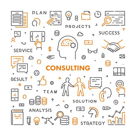 Vector lijn web concept voor consulting. Lineaire stijlbanner voor advies. Open pad.