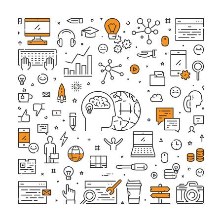 デジタルマーケティングのためのベクトルラインウェブバナー。ソーシャルマーケティングのための近代的な線形概念。