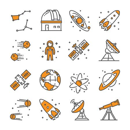 Vector linear icon set for astronomy. Line web symbol for space. Ilustração