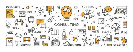Bannière de ligne de vecteur et concept pour la consultation. Symbole linéaire moderne pour la consultation des entreprises.