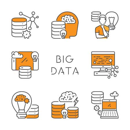 Vector set of linear icons for big data. Linear symbol for database. Open path. Ilustração
