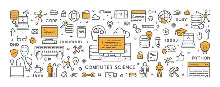 Vector line concept for computer science. Web linear banner for programming. Ilustração