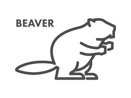 Vector line icon of beaver on white background. Ilustração