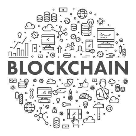Vector line web concept blockchain. Modern linear illustration.