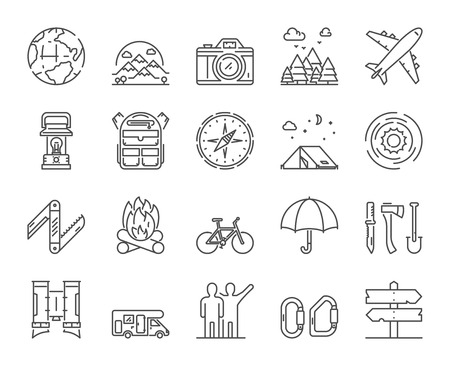 Vector line icons set of hiking, travel and adventure. Linear symbols of camping and tourism. Ilustração
