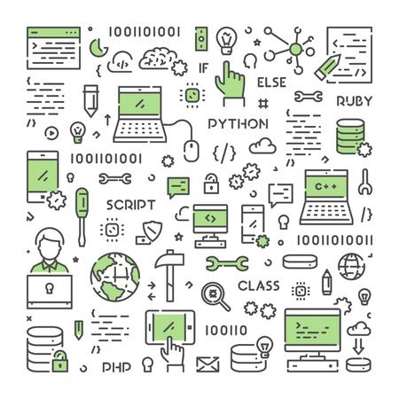 Linie Vektor Web-Konzept für Programmierung . Lineare Web-Banner für Codierung