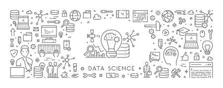 Vector line web banner for data science Ilustração