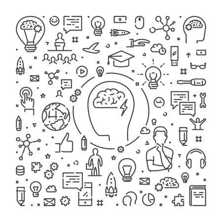 Vector line web banner for brainstorming