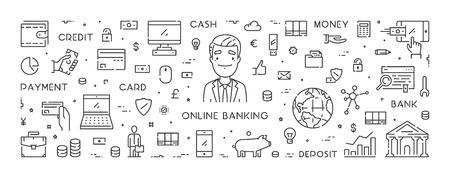 Vector line banner for online banking Ilustração