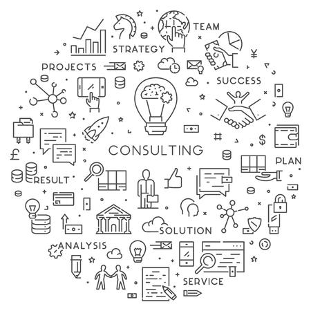 Vector line web concept for consulting Ilustração