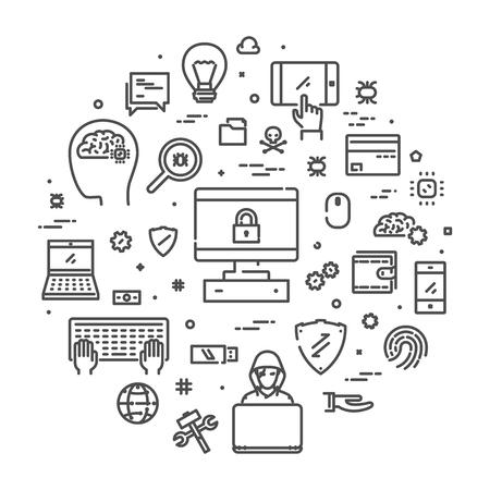 Vector line concept for internet security Ilustração
