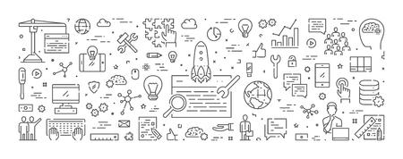 Vector line banner for seo. Modern linear web concept for search engine optimization. Ilustração