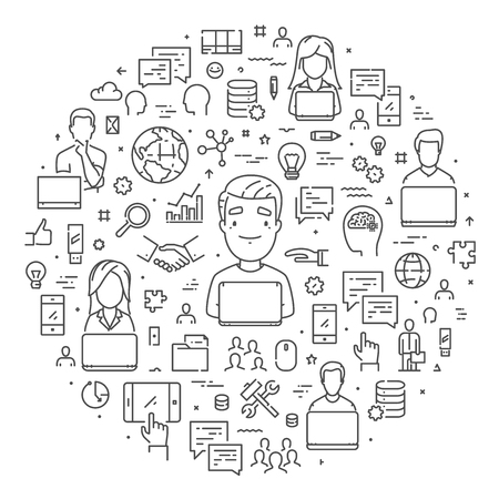 Vector line web banner for outsourcing. Modern linear concept for teamwork. Ilustração