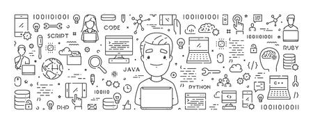 Koncepcja sieci web wektor linii do programowania. Liniowy baner internetowy naucz się kodować.