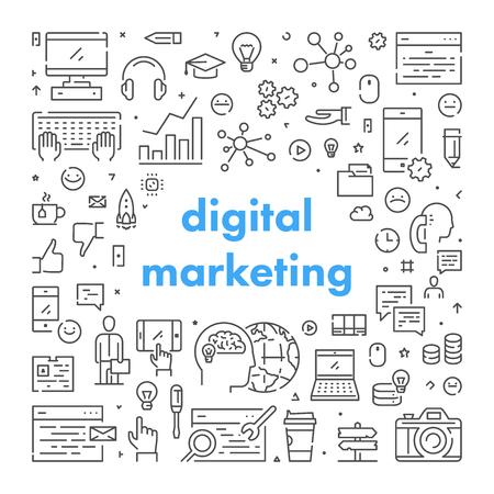 Vector line web banner for digital marketing. Modern linear concept for social marketing.